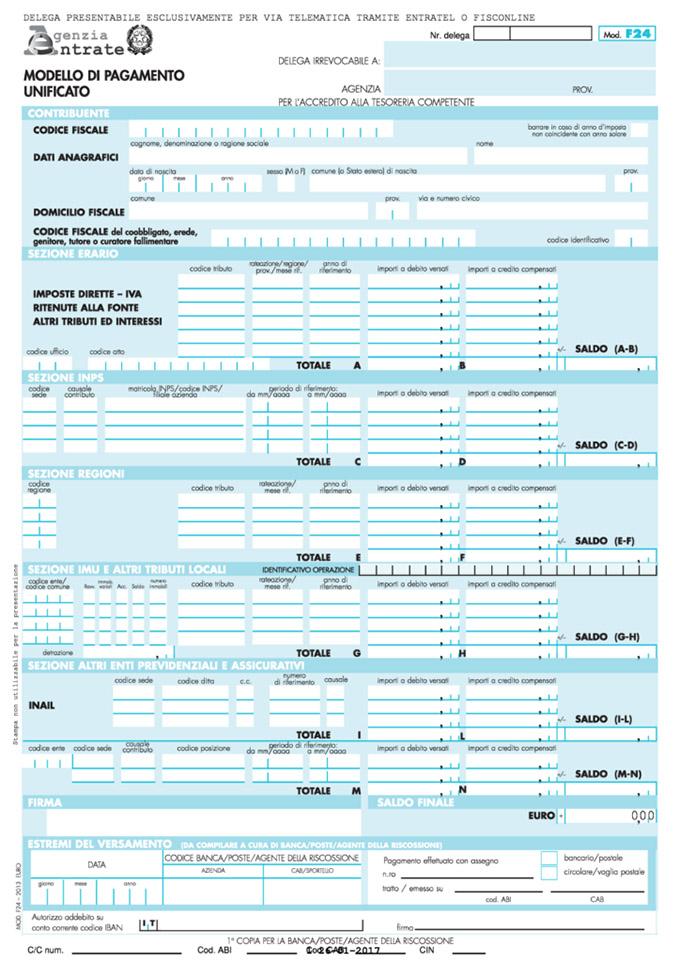 F24 per minimi e forfettari 2017